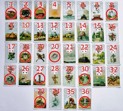 Grosse Decks mit 36 Lenormandkarten